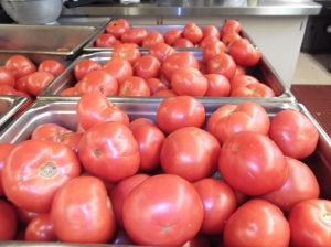 Some food is donated directly and The Gathering has a produce preservation program to allow for locally grown vegetables during the year.  Few of our tomatoes were this ripe.
