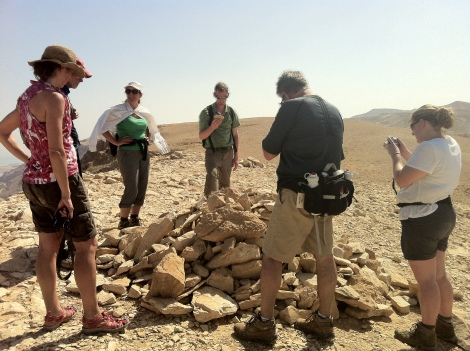 A heavy load:  rocks carried to the top of Qumran.